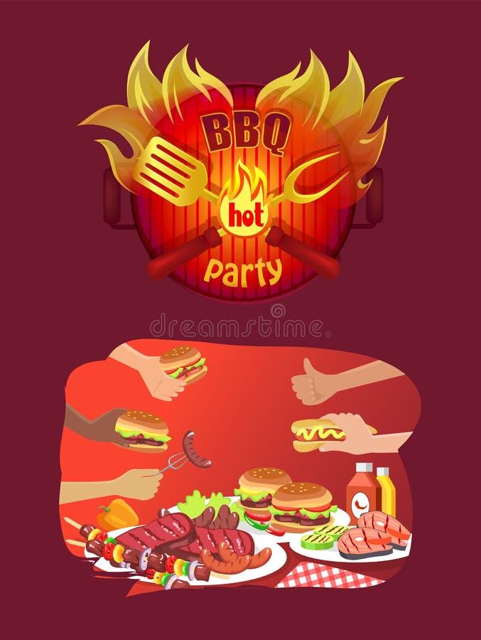 Bbq-Partei-Logo in der Flamme und in der Grill-Nahrung in den Händen lizenzfreie abbildung