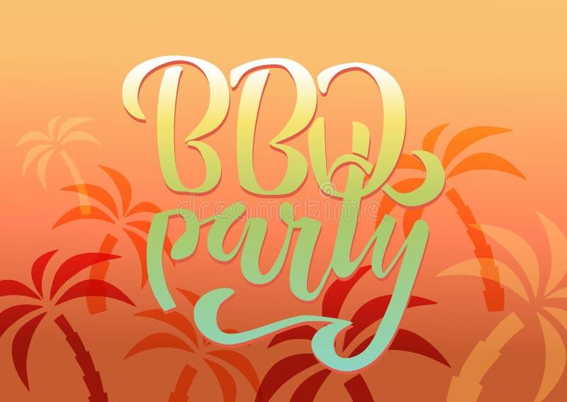 Bbq-Parteihand, die Logovektor-Entwurfsschablone beschriftet Typografischer Aufkleber des Steigungs-Grilltextes lokalisiert auf w lizenzfreie abbildung