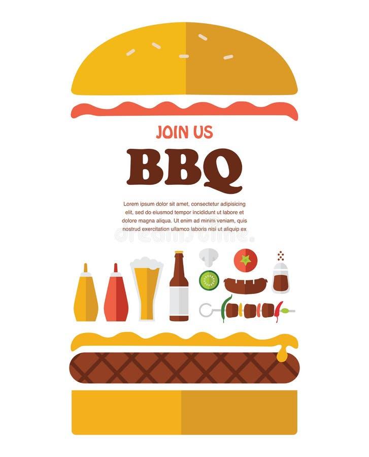 Bbq-partiinbjudan planlagt som en hamburgare vektor illustrationer