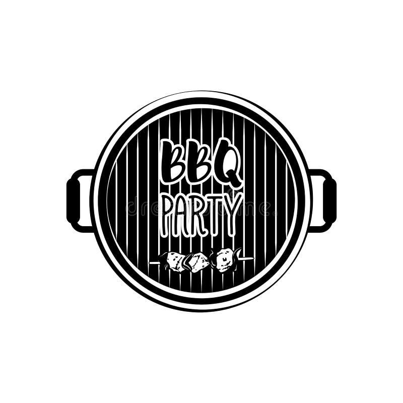 BBQ Partijkenteken Het Etiket van de vleesgrill Vectordieillustratie op wit wordt geïsoleerd royalty-vrije illustratie