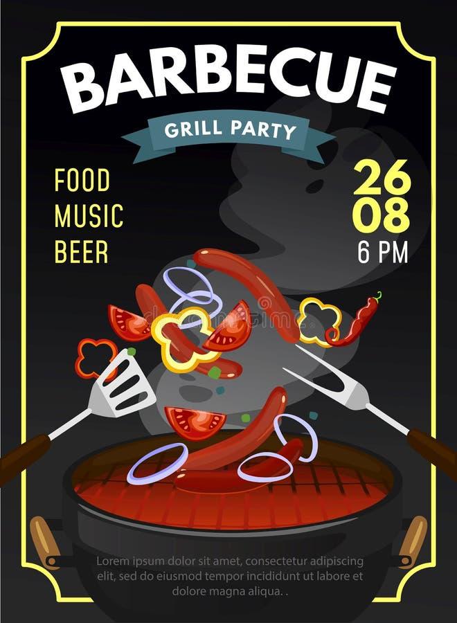 BBQ partijontwerpsjabloon met geroosterde worsten en groenten De affiche van de grilltijd Vector illustratie stock illustratie