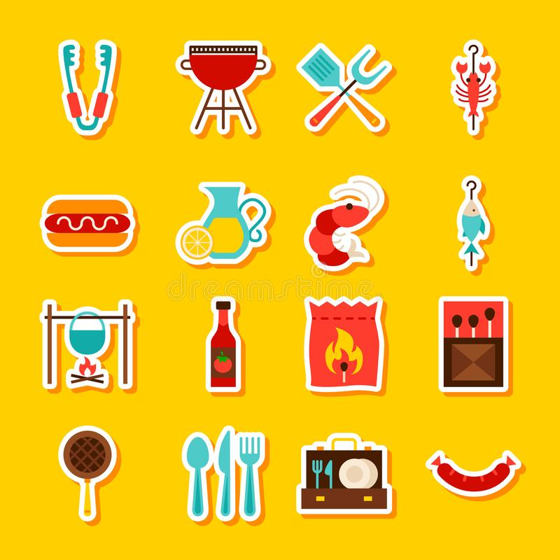 BBQ Partijstickers stock illustratie