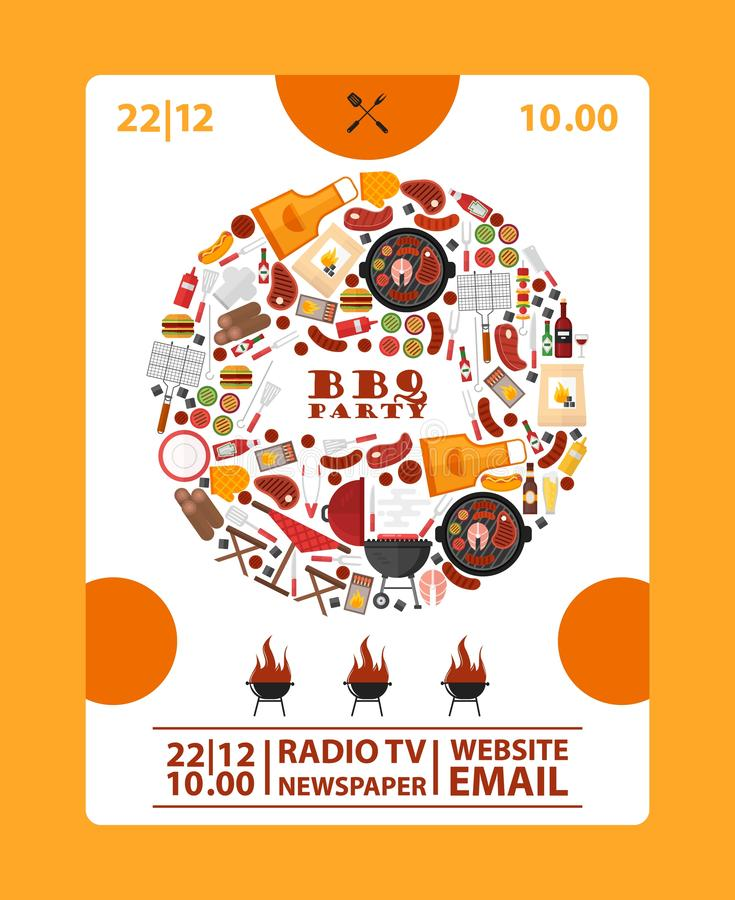 BBQ party announcement banner, vector illustration. Barbeque icons in round frame composition. Cookout barbeque event royalty free illustration