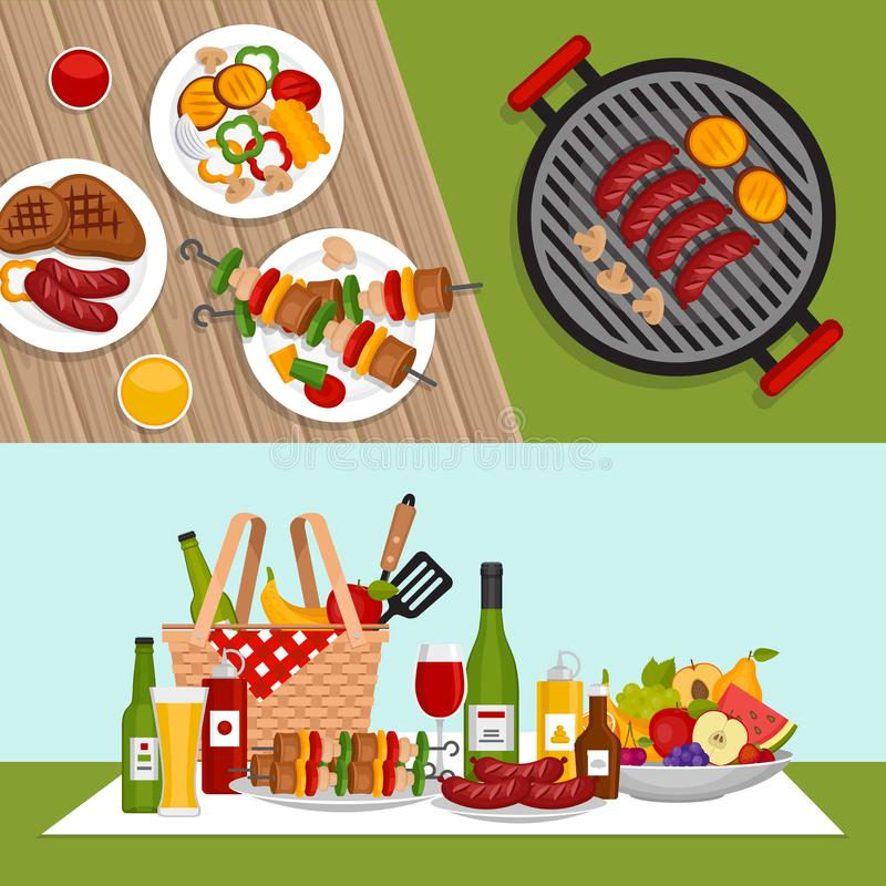 Bbq party background with grill. Barbecue poster. Flat style, vector illustration. stock illustration