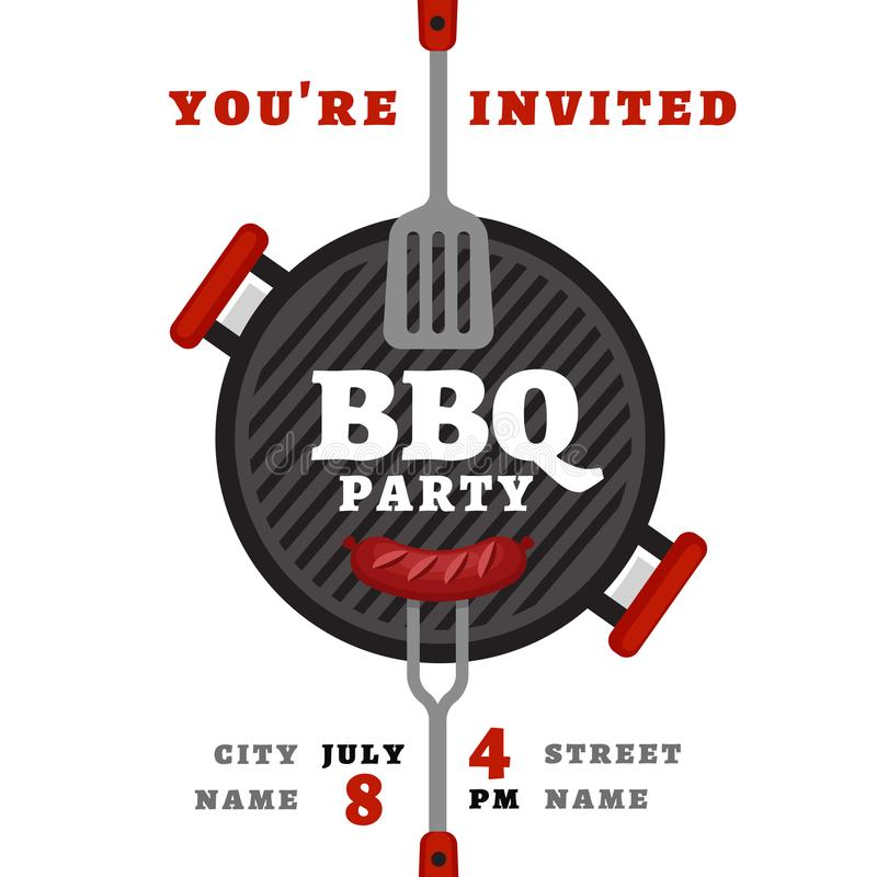 Bbq party background with grill. Barbecue poster. Flat style, vector illustration. royalty free illustration