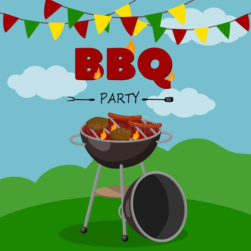 BBQ party banner, cartoon style poster, welcome invitation to barbecue picnic vector Illustration. With flaming BBQ grill stock illustration