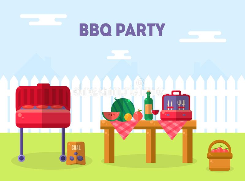 Bbq Party Banner Template, Outdoor Picnic Elements, Barbecue Invitation Card, Food Flyer Vector Illustration illustration stock