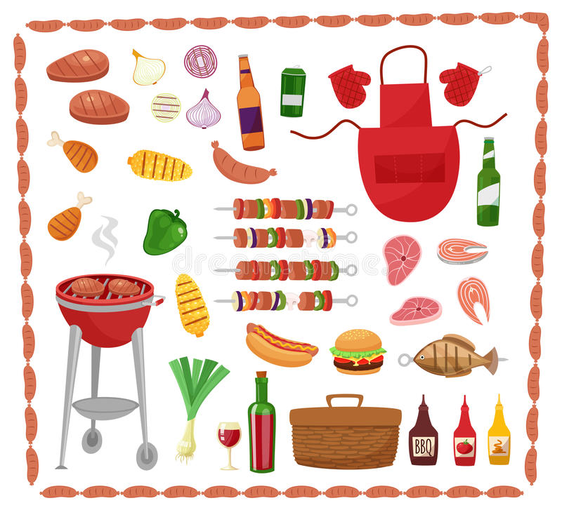 BBQ party elements isolated on white background.Products BBQ,steak, fish meat, beef, vegetables, herbs, fast food , wine stock illustration
