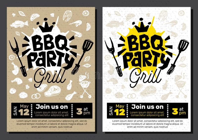 Bbq Party Food Poster Barbecue Template Menu Invitation Flyer D