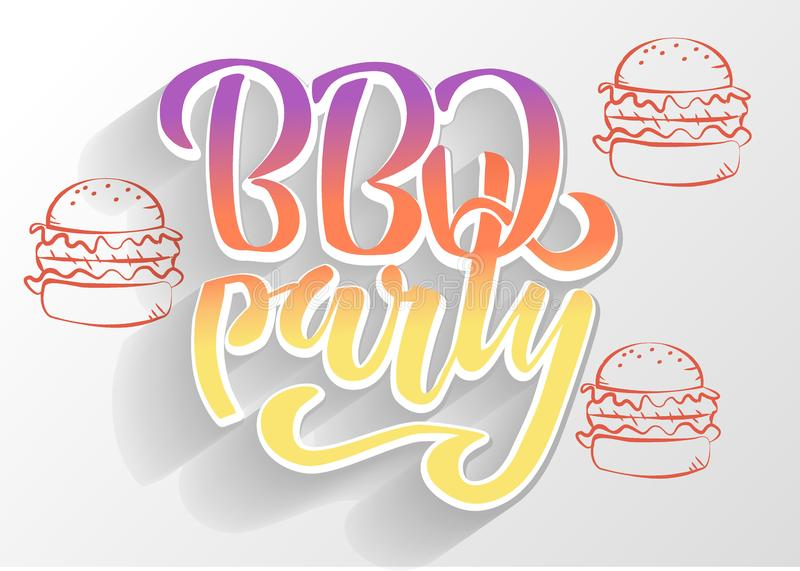 BBQ party hand lettering logo vector design template. Gradient Barbecue text typographic label isolated on white background with. Shadow and burgers silhouette vector illustration