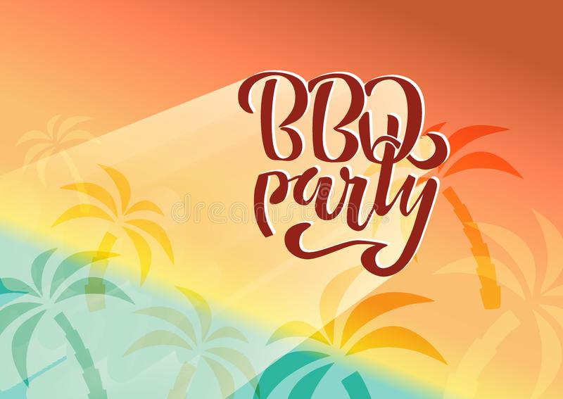 BBQ party hand lettering logo vector design template. Gradient Barbecue text typographic label isolated on white background with. Palm trees shadows and beach royalty free illustration