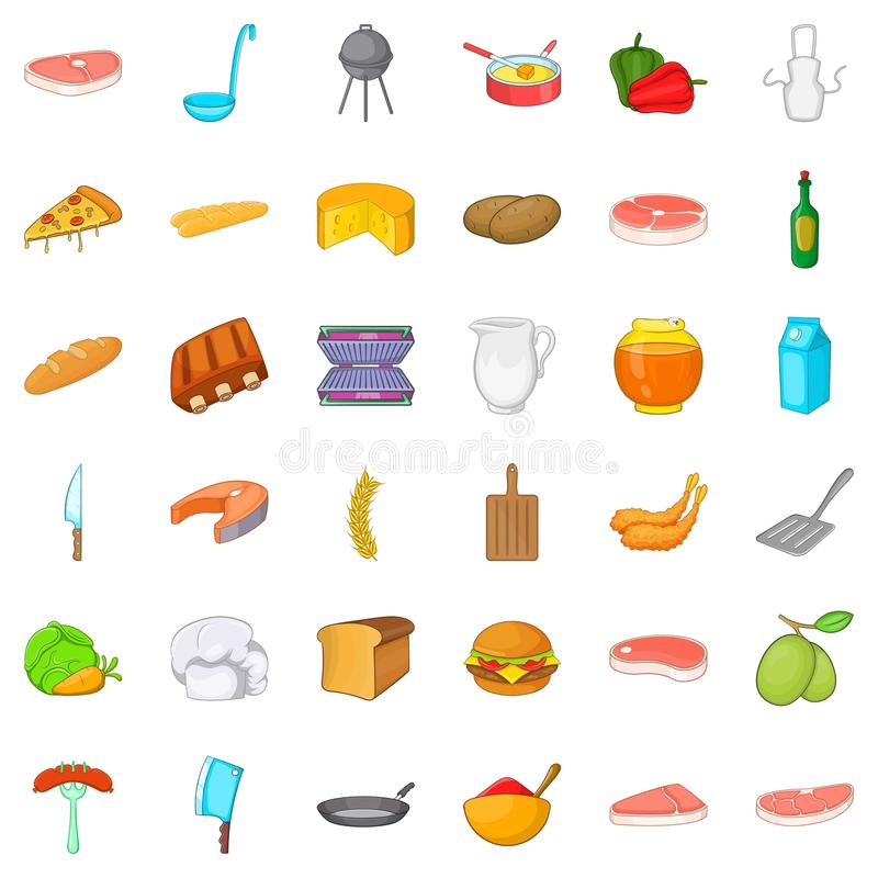 Bbq party icons set, cartoon style. Bbq party icons set. Cartoon style of 36 bbq party vector icons for web isolated on white background royalty free illustration