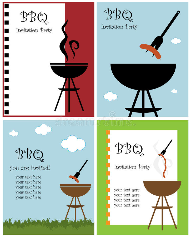 BBQ party invitation. Set of four BBQ or barbecue party invitation cards isolated on white background.EPS file available stock illustration