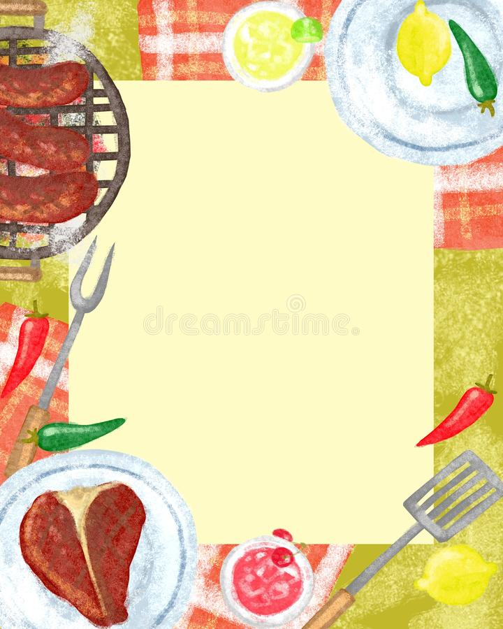 BBQ party Invitation stock illustration. Image of lunch - 24177880
