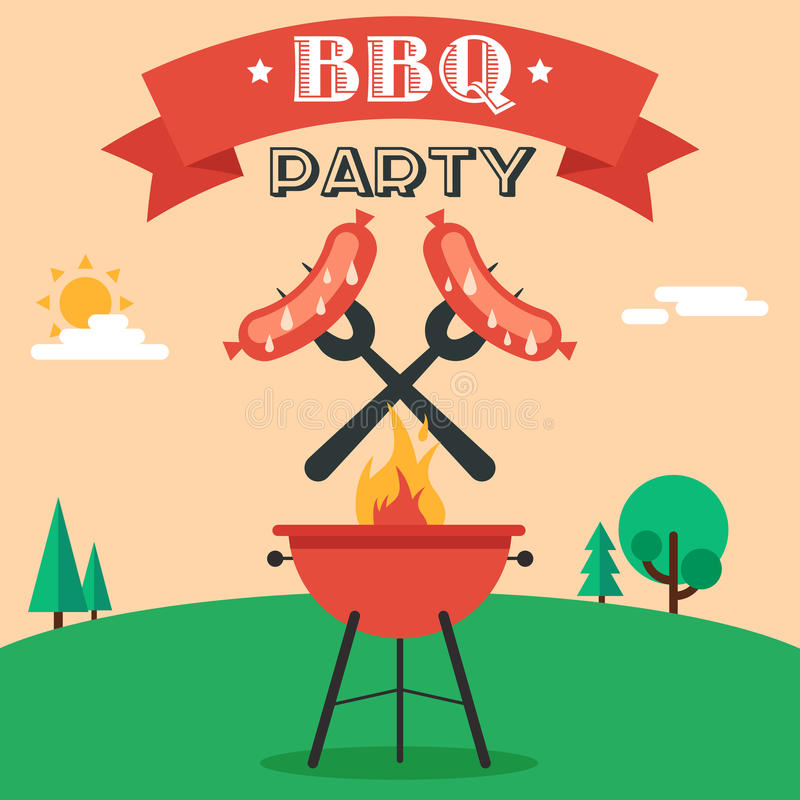 bbq party invitation stock vector. illustration of grilled - 53437344