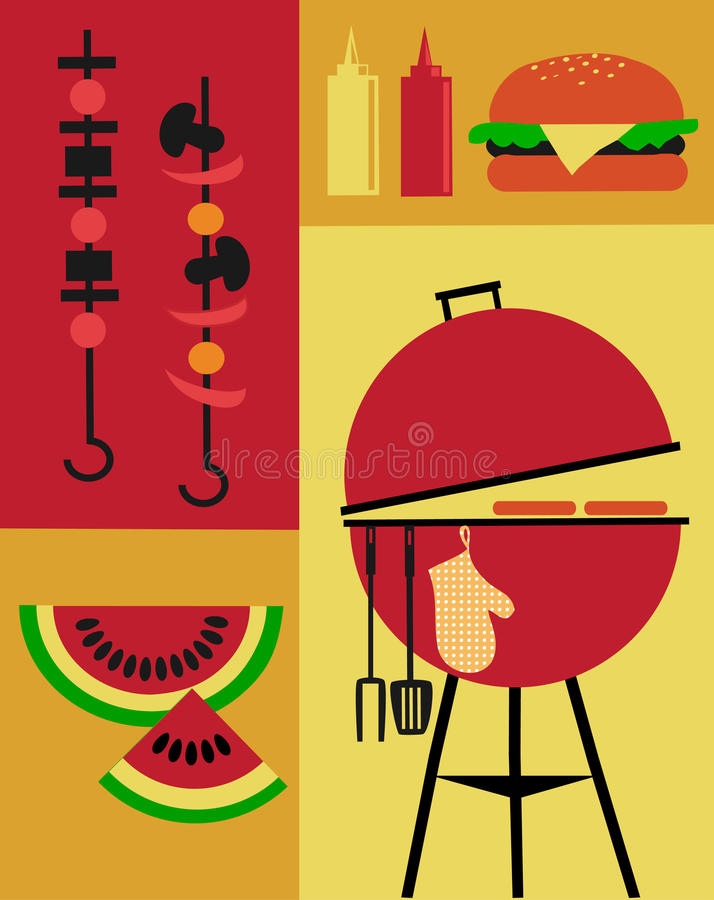 Bbq Party Invitation Template Stock Vector - Illustration of outdoor ...