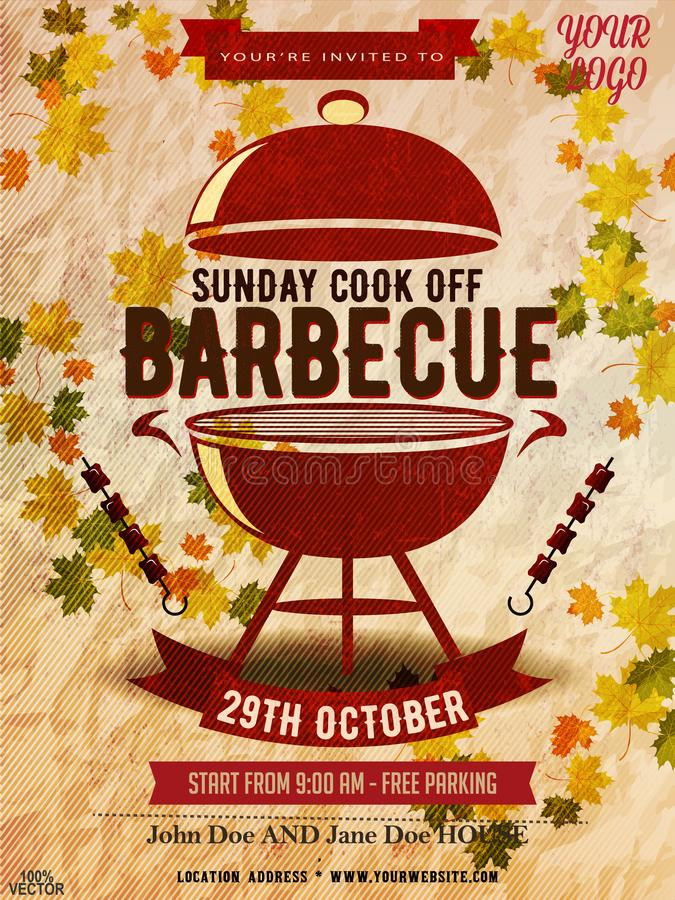 BBQ party invitation template on autumn yellow. Summer or fall Barbecue weekend flyer. vector illustration