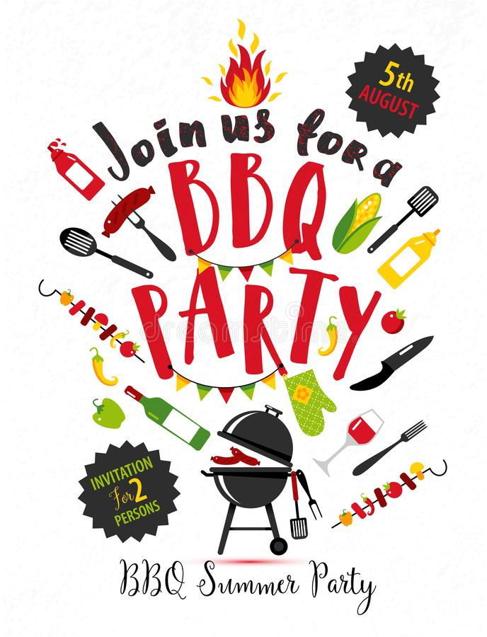 BBQ party invitation on white background with symbols of bbq. stock illustration