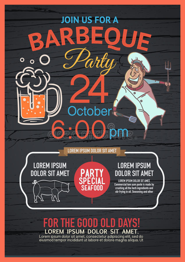 BBQ party menu is unique,. Distinctive colors. And have fun Deployed in many forms royalty free illustration