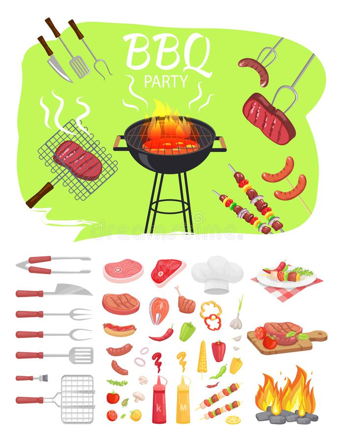 BBQ Party Poster Barbeque Vector Illustration royalty free illustration