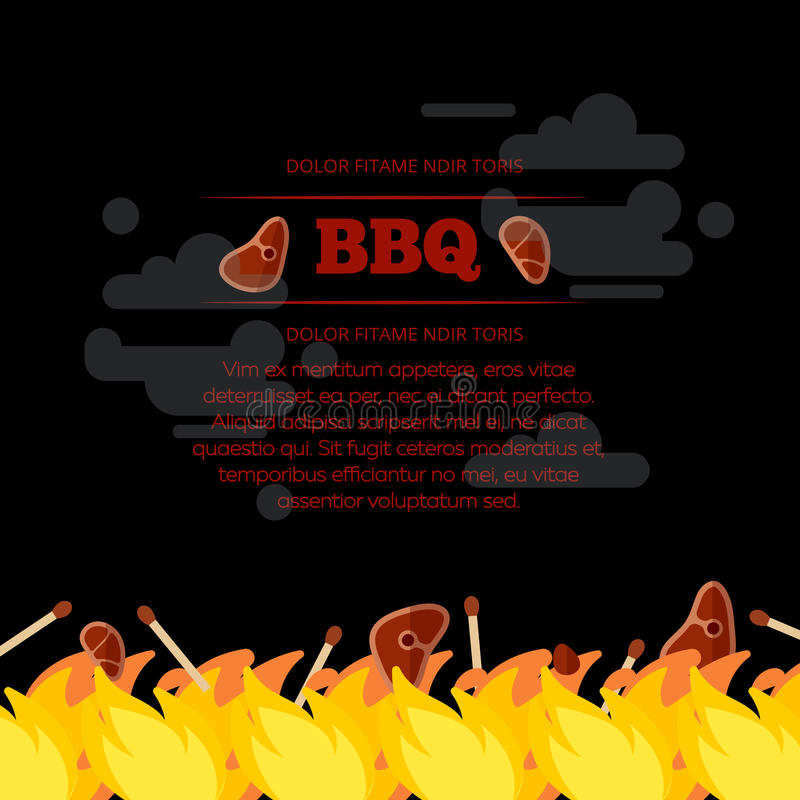 BBQ party poster design with fire and meat vector illustration