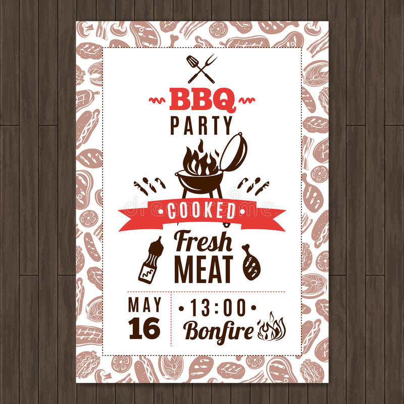 Bbq Party Poster royalty free illustration