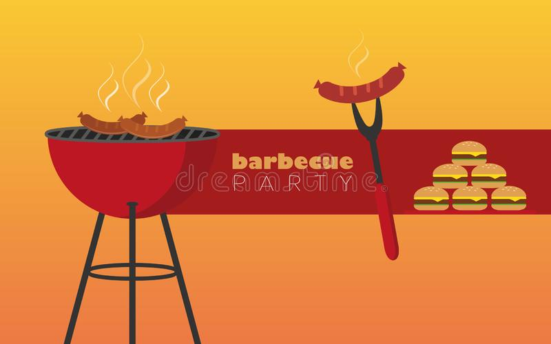 Bbq party red kettle barbecue with sausage and burger. Vector illustration EPS10 stock illustration