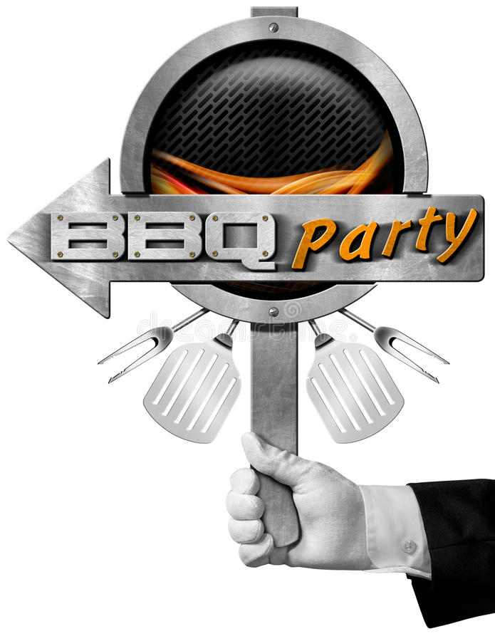 Bbq Party Sign with Hand of Chef stock illustration