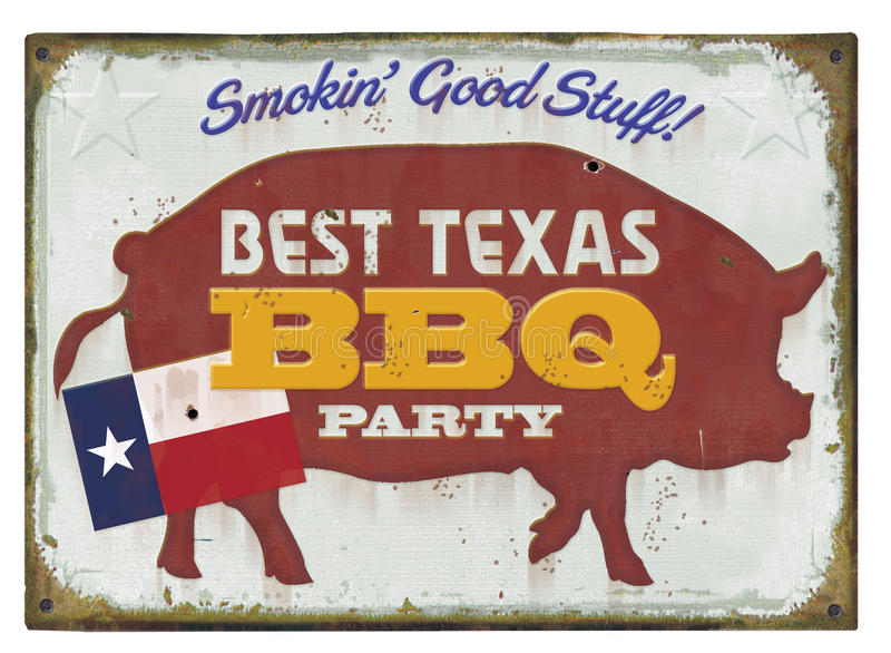 BBQ Party Sign. BBQ Party Tin Sign Vintage vector illustration