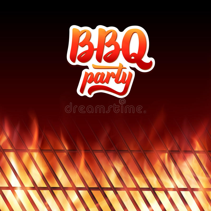 BBQ party text, grill and burning fire flames stock illustration