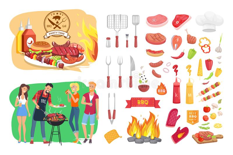 BBQ Party Time Icon Set Poster Vector Illustration royalty free illustration
