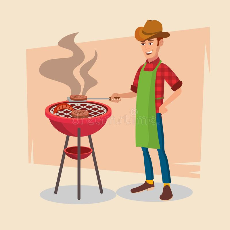 BBQ Party Vector. Barbecue Tools, Grill, Forks With Happy Man. Flat Cartoon Illustration. BBQ Cooking Vector. Classic American Smiling Man Barbecuing. On White vector illustration