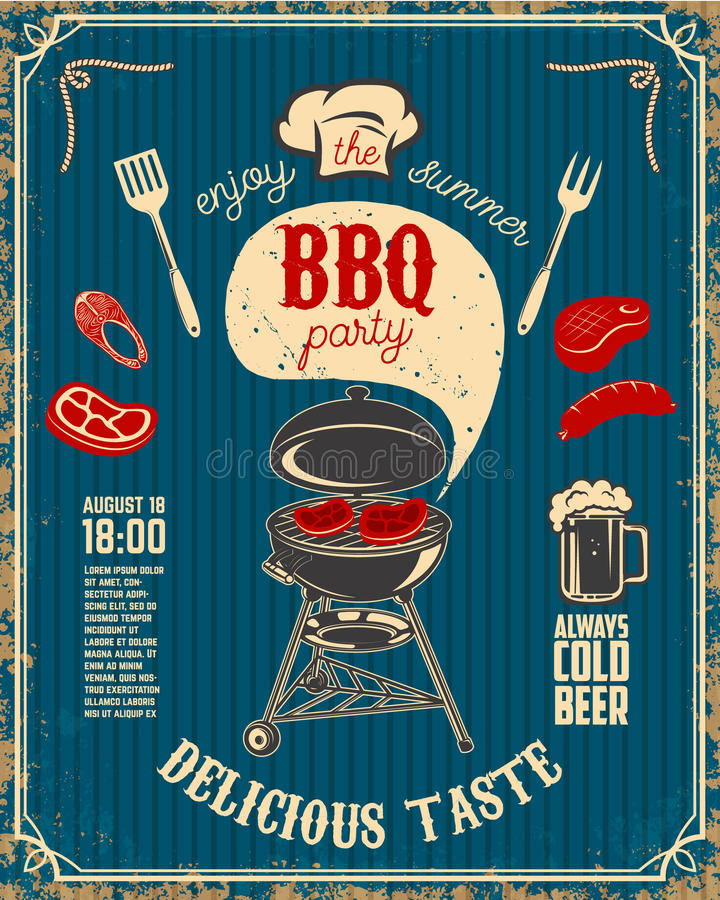 BBQ party vintage flyer on grunge background. Grill with kitchen royalty free illustration