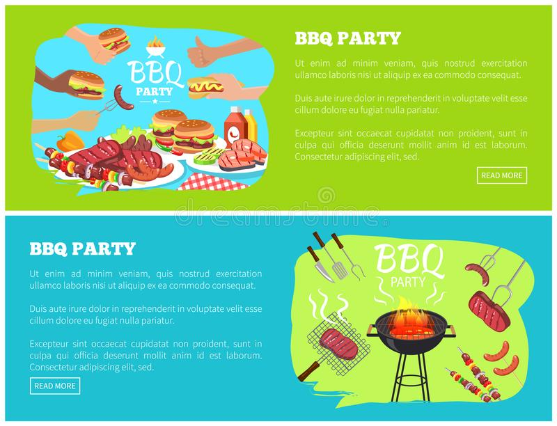 BBQ Party Web Sites with Text Vector Illustration. BBQ party web sites with text sample and lettering, bbq party sausages and steak, meat and sauce grill vector illustration