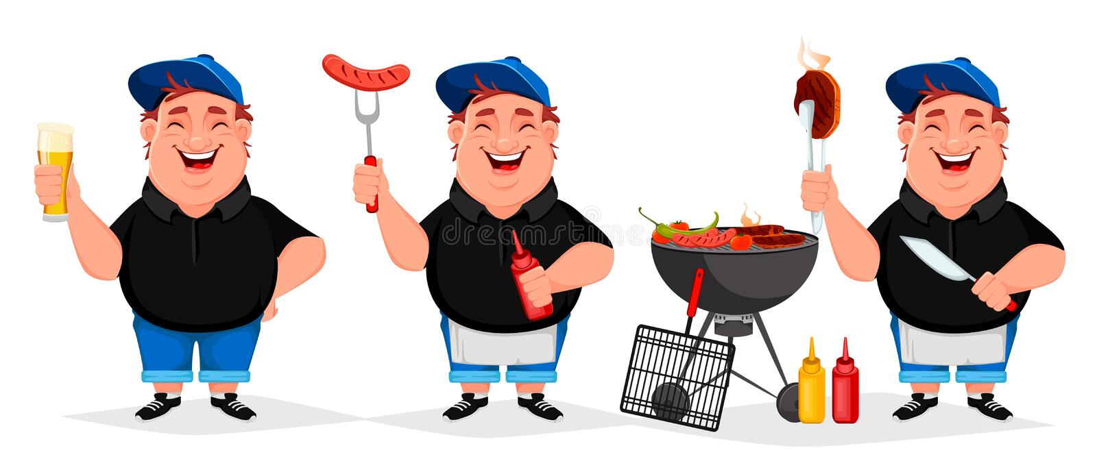 BBQ party. Young cheerful man cooks grilled food. Set of three poses. Barbecue party. Vector illustration on white background vector illustration