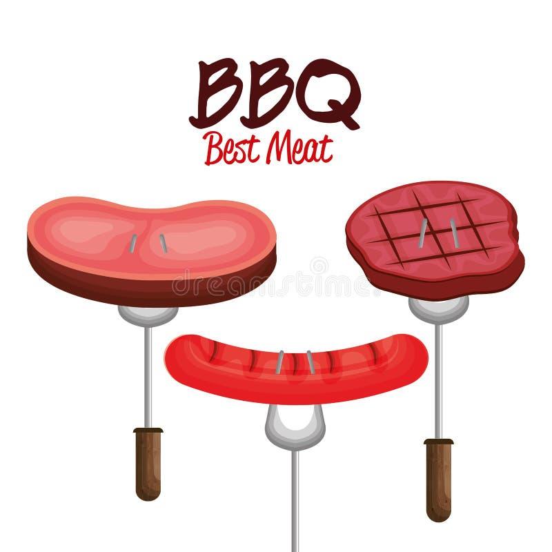 bbq partyjny najlepszy mięso royalty ilustracja