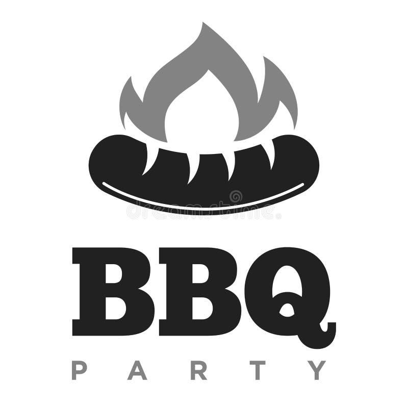 BBQ partyjny promocyjny monochromatyczny emblemat z kiełbasą w ogieniu royalty ilustracja