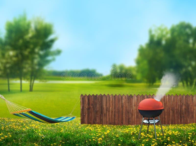 Bbq-picknick på trädgård vektor illustrationer