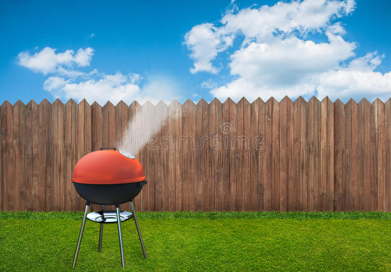 Bbq picnic on backyard. A bbq picnic on backyard stock illustration