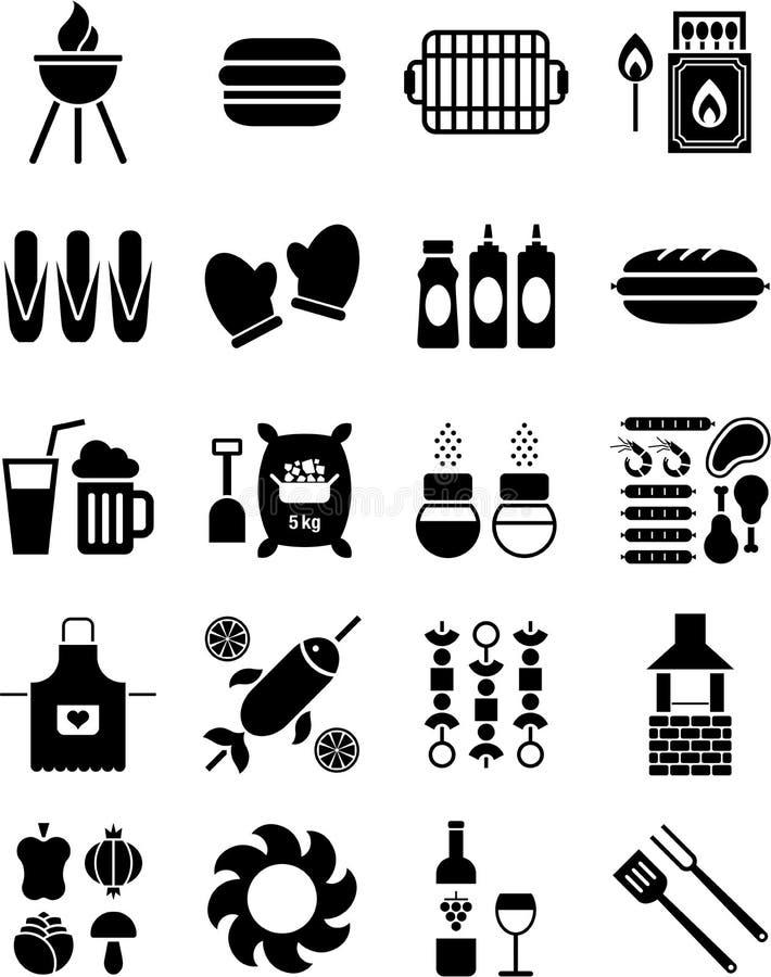 BBQ Pictogrammen Stock Afbeelding