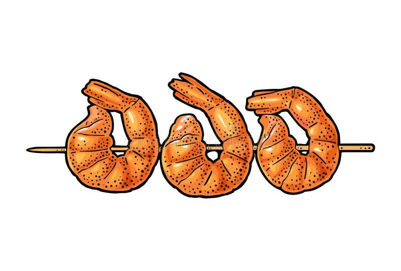 BBQ piec na grillu plasterek garnela na kijach Rocznika koloru wektorowy rytownictwo royalty ilustracja