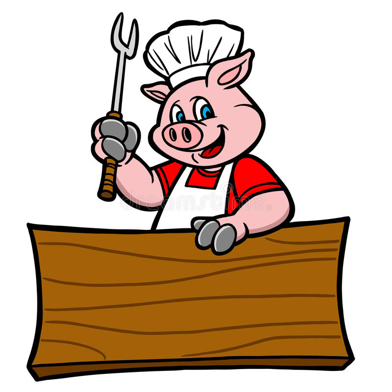 BBQ Pig with Sign. Cartoon illustration of a BBQ Pig with Sign vector illustration