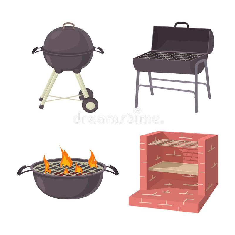 Bbq place tool icon set, cartoon style. Bbq place tool icon set. Cartoon set of bbq place tool vector icons for web design isolated on white background stock illustration