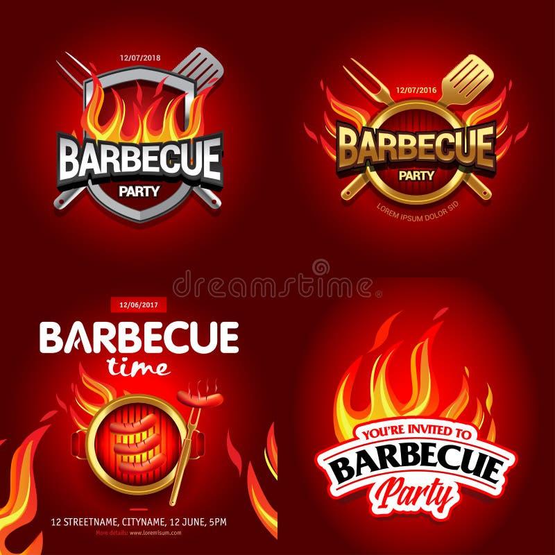 BBQ 4 plakata kolorowi projekty, partyjny projekt, zaproszenie, reklama projekt Grilla logo BBQ szablonu menu projekt Grilla jedz royalty ilustracja
