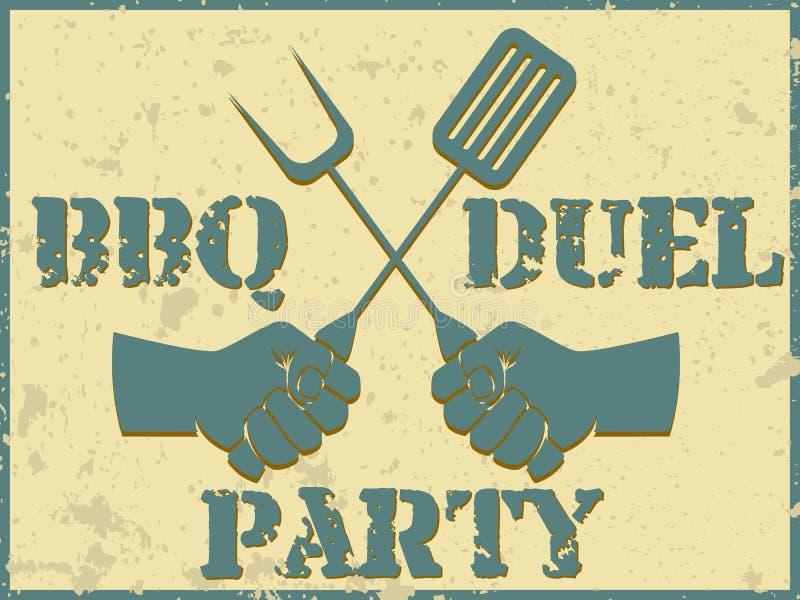 BBQ pojedynku przyjęcie ilustracja wektor