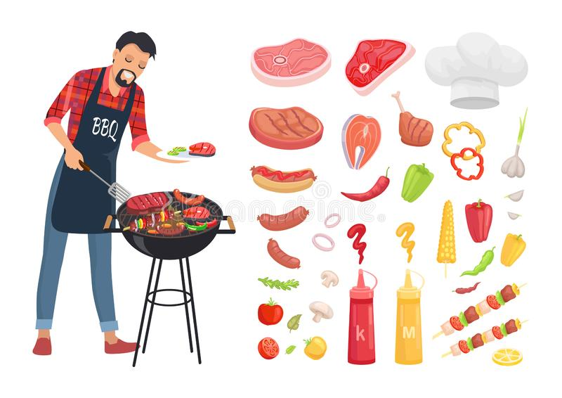 BBQ porcji mężczyzna i ikona Ustawiająca Wektorowa ilustracja ilustracja wektor