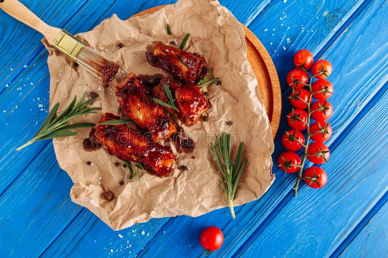 Bbq Pork Grilled Ribs Top Down View Food stock image