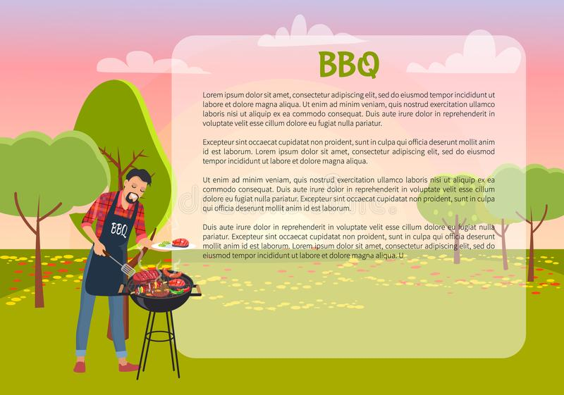 BBQ Poster with Chef and Text Vector Illustration. BBQ poster with chef and text sample, man and bbq cooking meat and meal, nature and outdoor activity, trees vector illustration