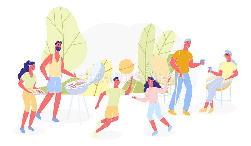 Bbq Poster for Family Different Generations Flat. Family Spends Time Together in Nature. Children Play and Have Fun. Husband and Wife on Picnic. Elderly vector illustration