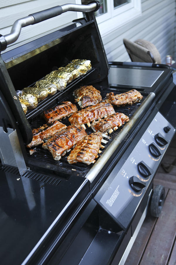 Download BBQ with potatoes and ribs stock photo. Image of barbeque - 29151844